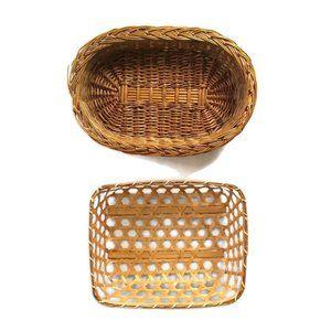 Woven Wicker Baskets Lot of 2 Wall Decor Basket